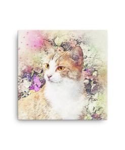 Cat and Flowers canvas cat art print,