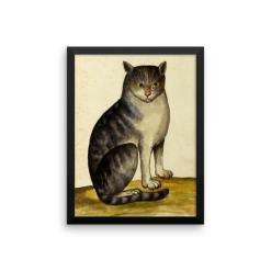Ulisse Aldrovandi: Seated Cat, 16th Century, Framed Cat Art Poster
