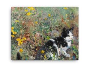 Bruno Liljefors: Cat in the Flowerbed, 1887, Canvas Cat Art Print