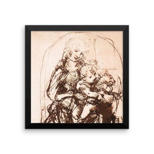 Leonardo da Vinci: Study of the Madonna and Child with a Cat, 1478, Framed Cat Art Poster