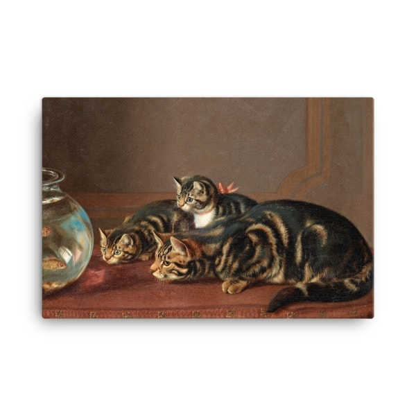Horatio Henry Couldery: Cats by a Fishbowl, 19th Century Canvas Cat Art Print, 18×24