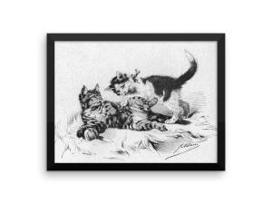 German Illustration of Kittens, 1891, Framed Cat Art Poster