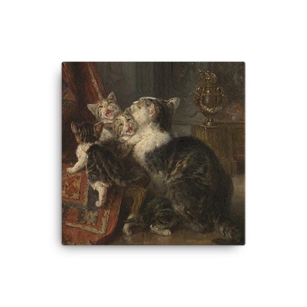 Louis Eugene Lambert: Mother Cat and Kittens, 19th century, Canvas Cat Art Print, 16×16