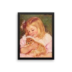Mary Cassatt: Sara Holding a Cat, 1908, Framed Cat Art Poster, Mary Cassatt cat art