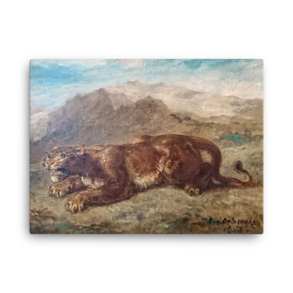 Eugene Delacroix: Lion Stalking, 1863, Canvas Cat Art Print, 24×36