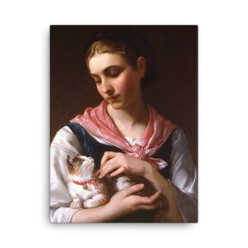Emile Munier: The Favourite Kitten, 1874, Canvas Cat Art Print