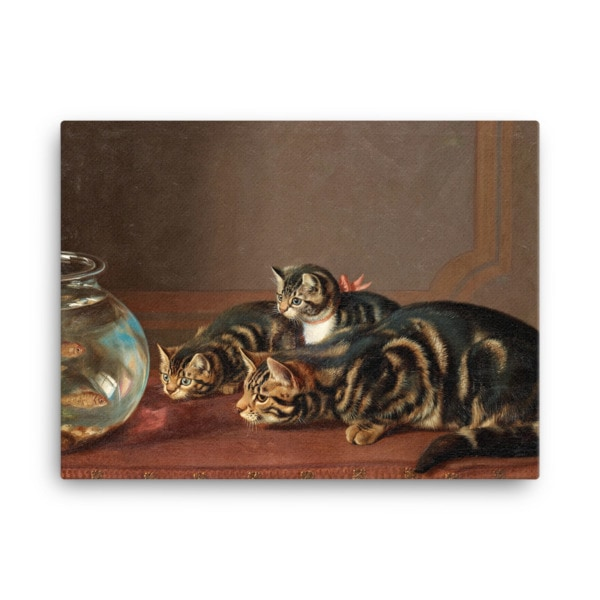 Horatio Henry Couldery: Cats by a Fishbowl, 19th Century Canvas Cat Art Print, 24×36