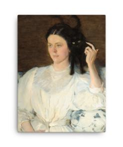 Cecilia Beaux: Sita and Sarita, 1893, canvas print reproduction, BLACK CAT