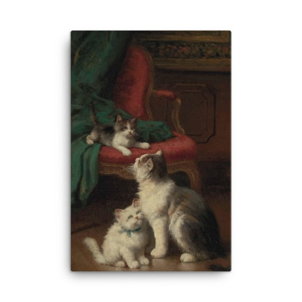 Leon Charles Huber: Mother Cat and Kittens, Before 1928, Canvas Cat Art Print, 24×36