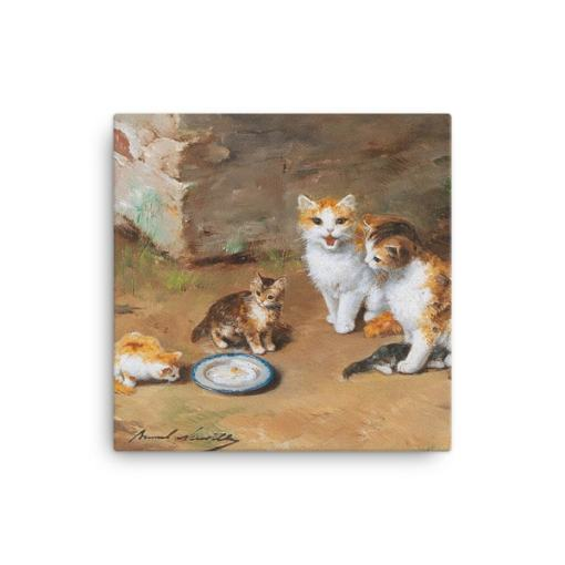 Alfred Brunel de Neuville: Cat Family, Before 1941, Canvas Cat Art Print, 12x12
