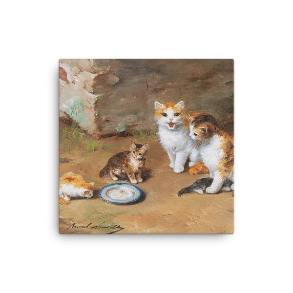Alfred Brunel de Neuville: Cat Family, Before 1941, Canvas Cat Art Print, 12×12