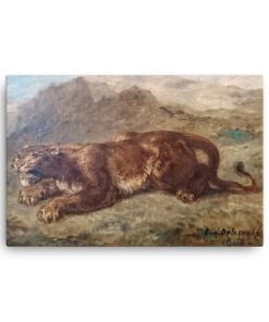 Eugene Delacroix: Lion Stalking, 1863, Canvas Cat Art Print