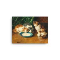 Alfred Brunel de Neuville: What's that then?, Before 1941, Canvas Cat Art Print, 12x16