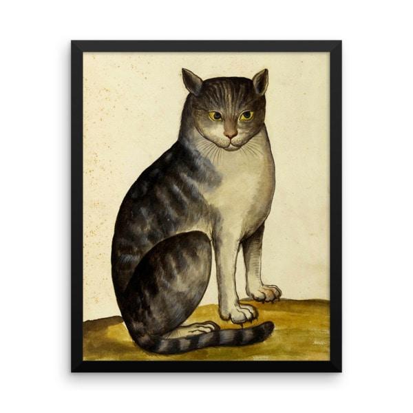 Ulisse Aldrovandi: Seated Cat, 16th Century, Framed Cat Art Poster, 18×24