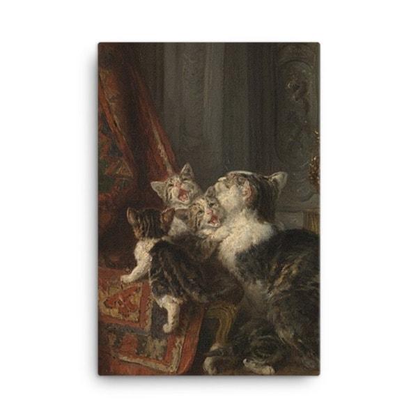 Louis Eugene Lambert: Mother Cat and Kittens, 19th century, Canvas Cat Art Print, 24×36