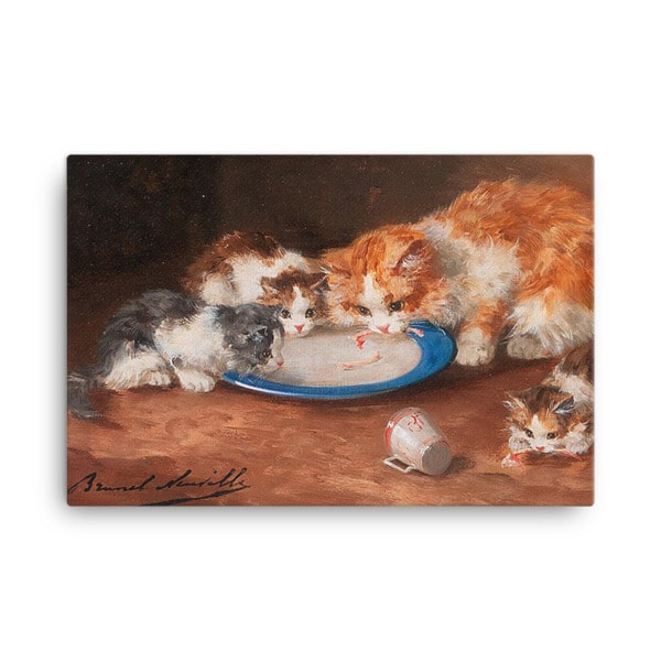 Alfred Brunel de Neuville: Mother Cat with Three Kittens, 19th C, Canvas Cat Art Print, 18×24