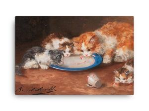 Alfred Brunel de Neuville: Mother Cat with Three Kittens, 19th C, Canvas Cat Art Print
