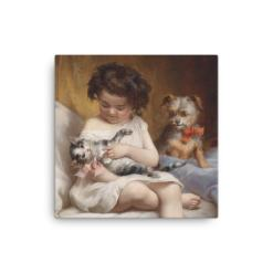 Carl Reichert: Little Girl Playing with Kitten, 1886, Canvas Cat Art Print
