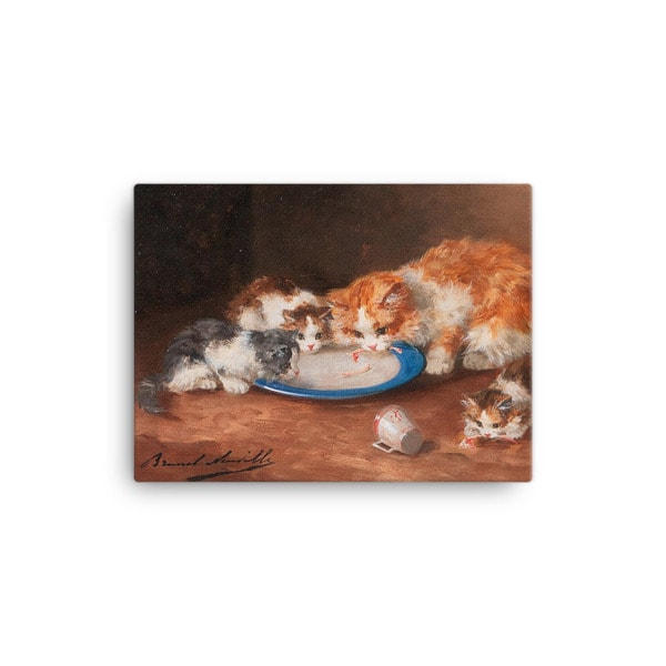 Alfred Brunel de Neuville: Mother Cat with Three Kittens, 19th C, Canvas Cat Art Print, 12×16