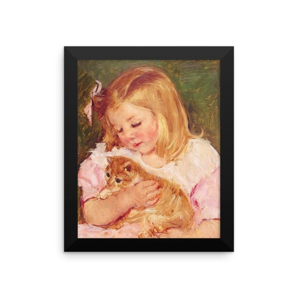 Mary Cassatt: Sara Holding a Cat, 1908, Framed Cat Art Poster, 8×10