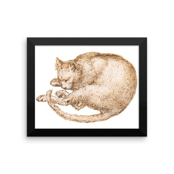 Leonardo da Vinci: Drawing of a Cat, 15th Century, Framed Cat Art Poster, 12×18