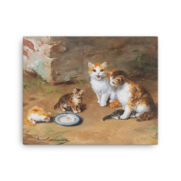 Alfred Brunel de Neuville: Cat Family, Before 1941, Canvas Cat Art Print, 16×20