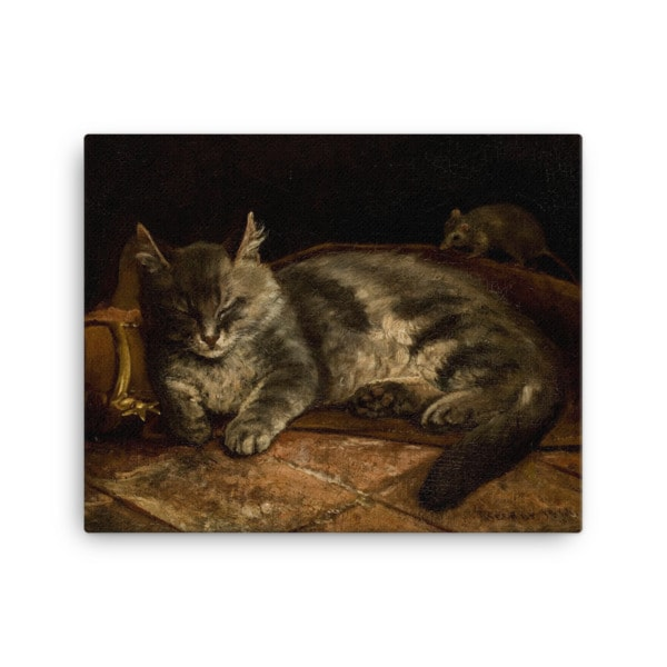 Adolf Von Becker: Sleeping Cat, 1864, Canvas Cat Art Print, 16×20