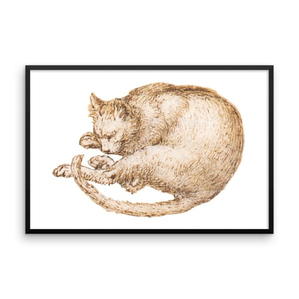 Leonardo da Vinci: Drawing of a Cat, 15th Century, Framed Cat Art Poster, 24×36
