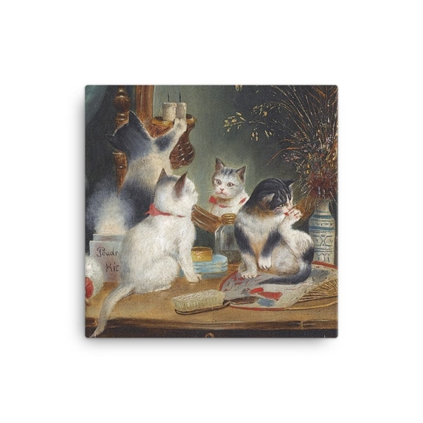 Carl Reichert: Kittens in the Boudoir, Before 1918, Canvas Cat Art Print, 16×16