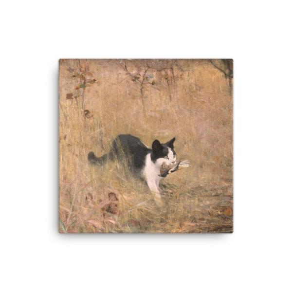Bruno Liljefors: Cat Hunting, 1883, Canvas Cat Art Print, 12×12