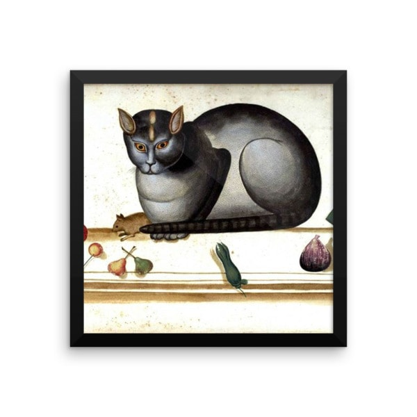 Ulisse Aldrovandi: Cat on a Ledge with Mouse and Fruit, 14×14