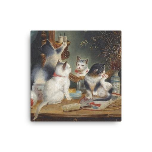 Carl Reichert: Kittens in the Boudoir, Before 1918, Canvas Cat Art Print