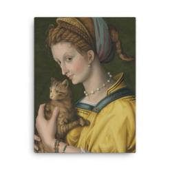 Francesco Bacchiacca: Portrait of a Young Lady Holding a Cat, 1525-30,canvas cat art print at The Great Cat Store