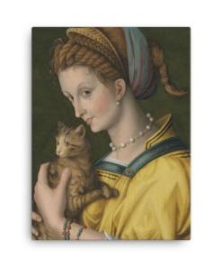 Francesco Bacchiacca: Portrait of a Young Lady Holding a Cat, 1525-30, canvas cat art print at The Great Cat Store