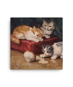 Alfred Brunel de Neuville: Les Chats, Before 1941, Canvas Cat Art Print, 12x12