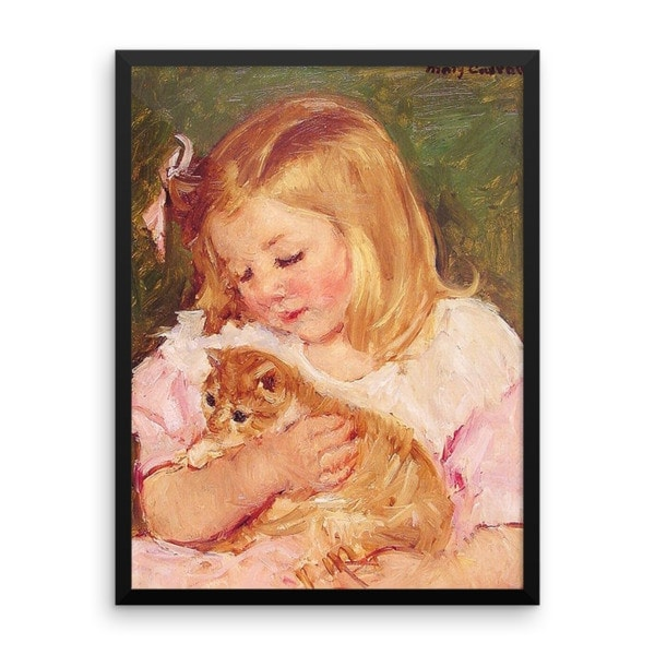 Mary Cassatt: Sara Holding a Cat, 1908, Framed Cat Art Poster, 24×36