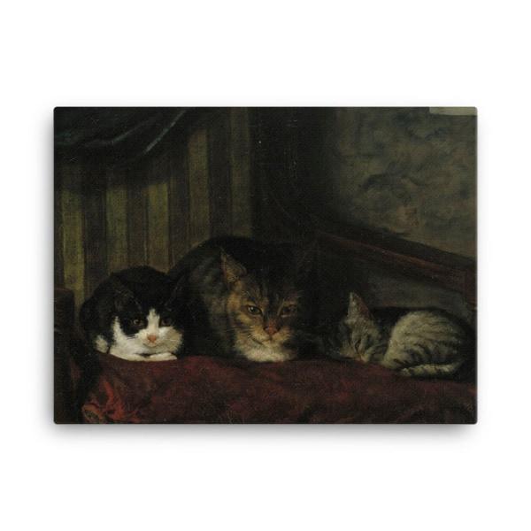Adolf Von Becker: Cats in a Chair, 1863, Canvas Cat Art Print, 18×24