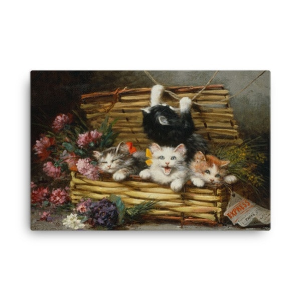 Leon Charles Huber: A Basket Full of Kittens (2), Before 1928, Canvas Cat Art Print, 18×24