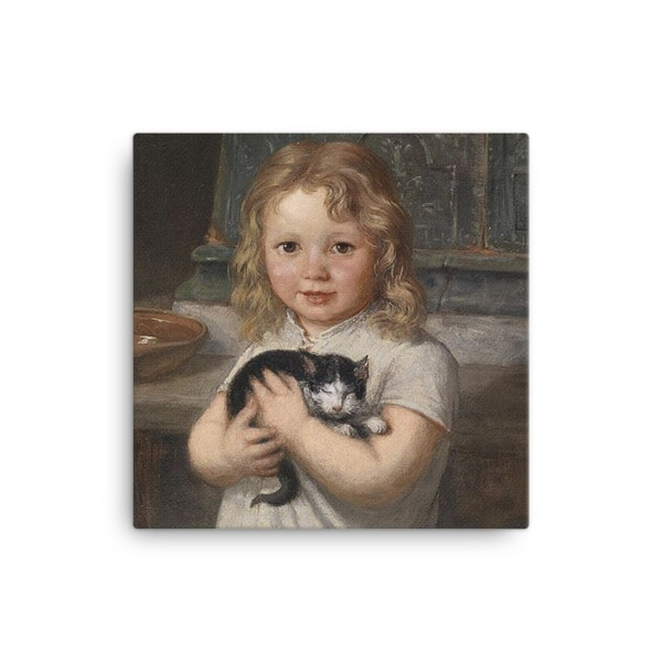 Georg Teibler: Girl with Kitten, Before 1911, Canvas Cat Art Print, 16×16