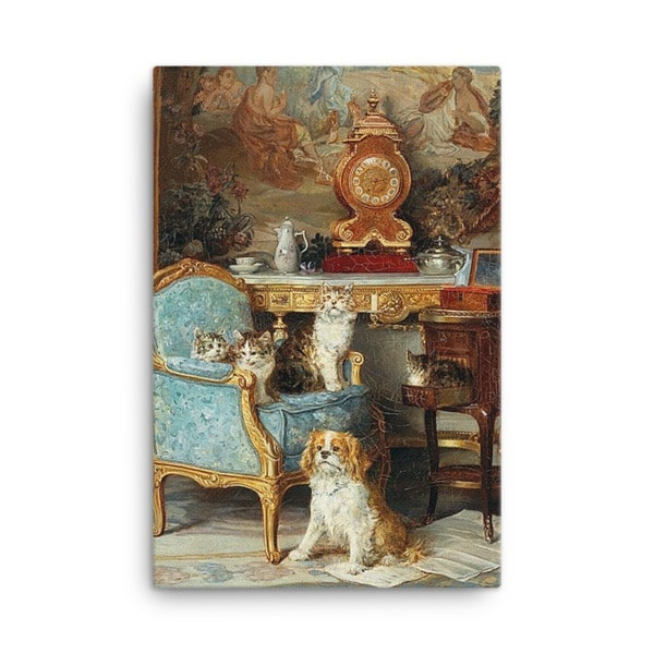 Louis Eugene Lambert: Family of Cats and Dog in the Salon, 1893, Canvas Cat Art Print, 18×24