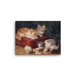 Alfred Brunel de Neuville: Les Chats, Before 1941, Canvas Cat Art Print, 12x16