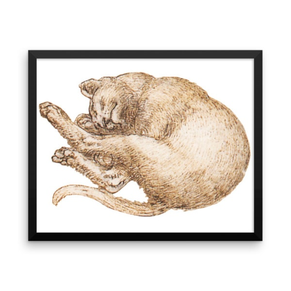 Leonardo da Vinci: Drawing of a Cat (2), 15th Century, Framed Cat Art Poster, 18×24