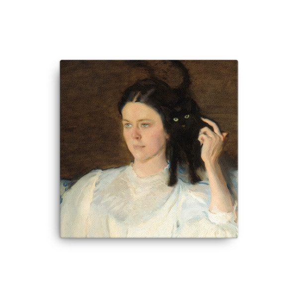 Cecilia Beaux: Sita and Sarita, 1893, canvas print reproduction, 16×16