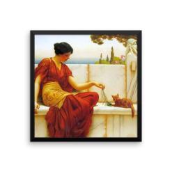 John William Godward: The Tease: 1901, Framed Cat Art Poster