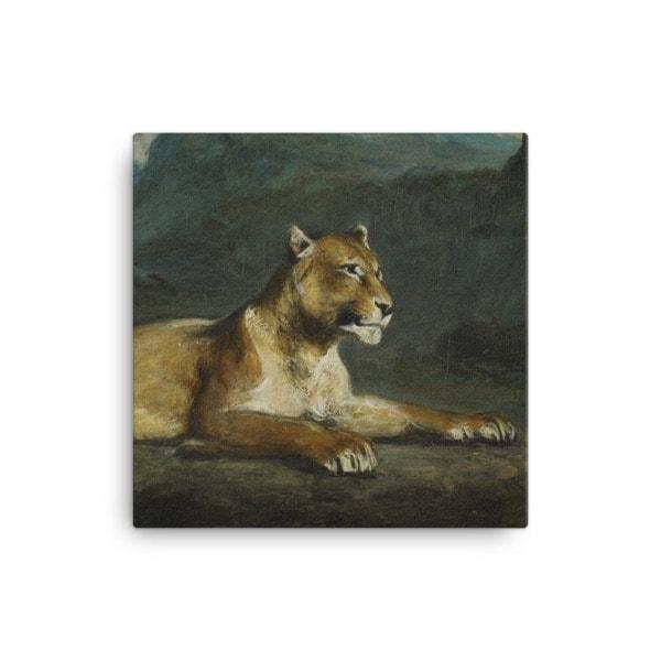 Eugene Delacroix: Lioness Reclining, 1855, Canvas Cat Art Print, 16×16