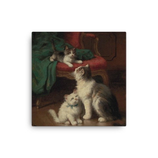 Leon Charles Huber: Mother Cat and Kittens, Before 1928, Canvas Cat Art Print, 16×16