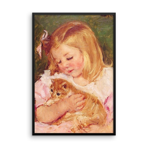 Mary Cassatt: Sara Holding a Cat, 1908, Framed Cat Art Poster, 18×24