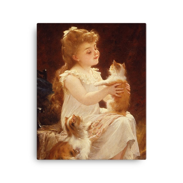 Emile Munier: Playing with the Kitten, 1893, Canvas Cat Art Print, 16×20