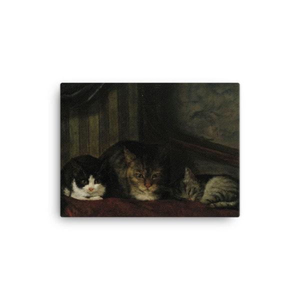 Adolf Von Becker: Cats in a Chair, 1863, Canvas Cat Art Print, 12×16