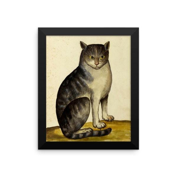 Ulisse Aldrovandi: Seated Cat, 16th Century, Framed Cat Art Poster, 8×10